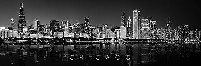 CHICAGO Skyline Panoramic HI RES original Photo 16x48 Poster Black and White 4FT