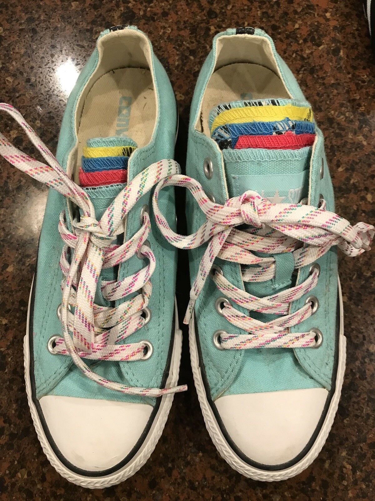 Turquoise Converse With Rainbow Women's Tongues - Size 7 Women's Rainbow f04b5a