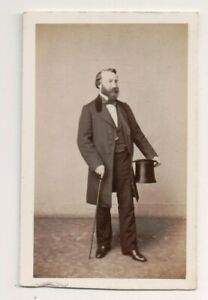 Vintage-CDV-French-High-Society-Aristocratic-Noble-Top-Hat-amp-Cane-Franck-Photo