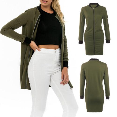 Womens Retro Long Sleeve Zipper Biker Bomber Warm Jacket Casual Coat Outwear