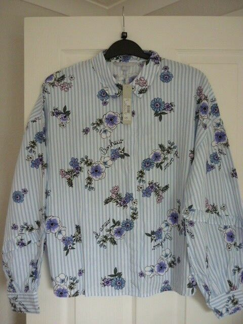 RED HERRING BLUE STRIPED FLORAL JE T'AIME PRINT SHIRT UK 16, EUR 42-44, US 12 BN