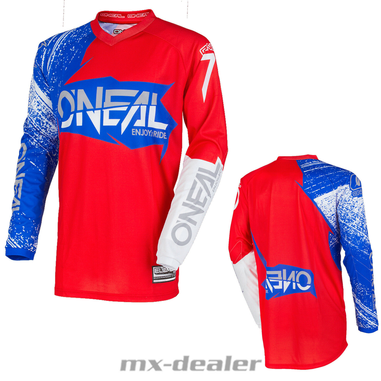 O'Neal Element BURNOUT blue red Jersey Trikot Fahrerhemd mx motocross mtb DH
