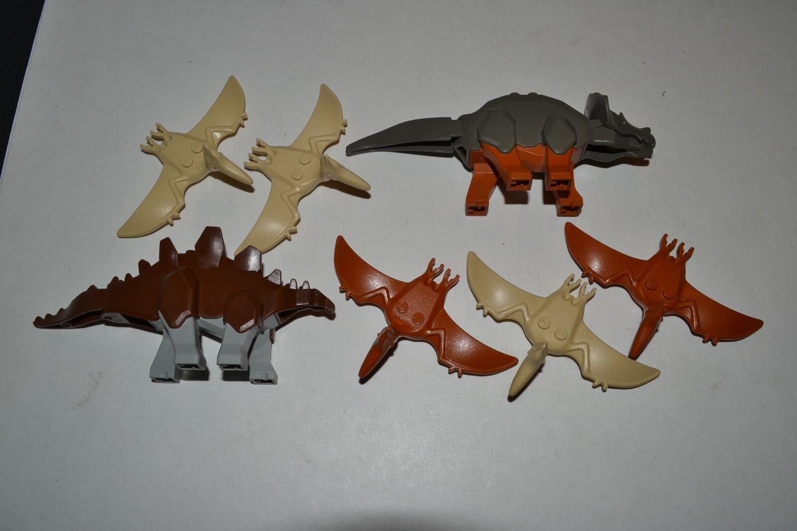 LEGO Dinosaur Lot Triceratops Stegosaurus Stegosaurus Stegosaurus Pterodactyl Pteranodon Animal ACZA a0291d