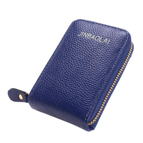 JINBAOLAI Men Wallet Leather Credit Card Holder RFID Blocking Zipper Pocket CH