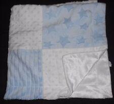 Kyle & Deena Baby Blanket Blue White Squares Stars Minky Dot Bump Stripe Texture