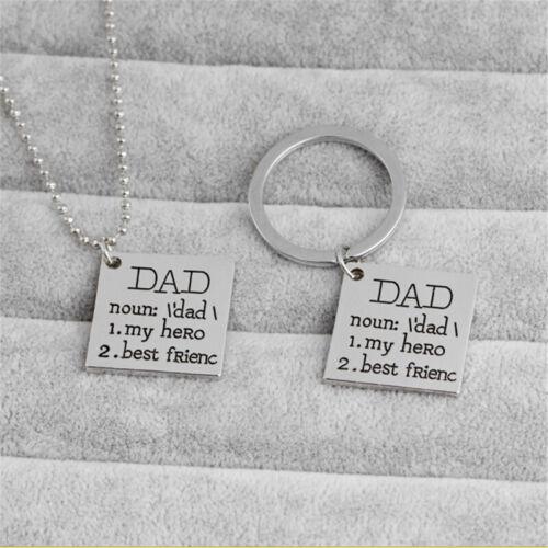 New Fashion Daddy My Hero Best Friend Necklace Keychain Square Jewelry LH