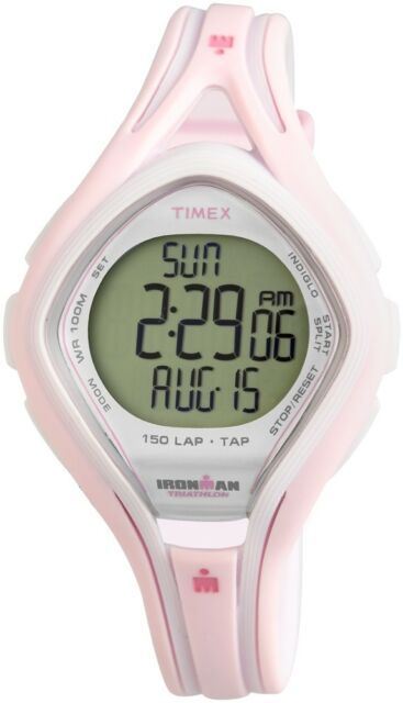 adf8b67d5 Timex Women's Ironman T5k506 Pink Resin Quartz Watch With Digital Dial