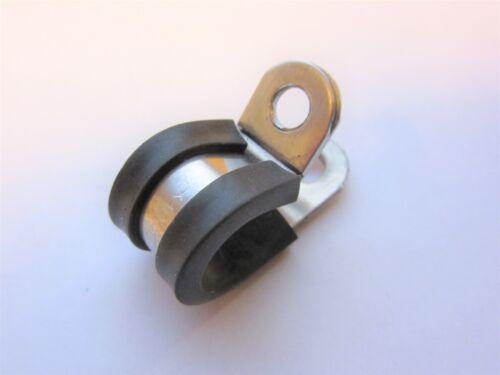 10 P-Clip Klemme W4 2 P-Clips 304 Edelstahl Gummiverkleidung Pack Menge 1 5