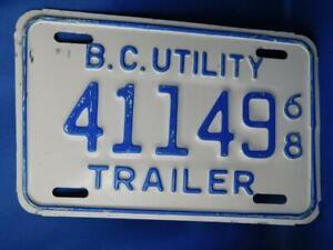 BRITISH-COLUMBIA-LICENSE-PLATE-UTILITY-TRAILER-1968-411-49-BC-CANADA-VINTAGE