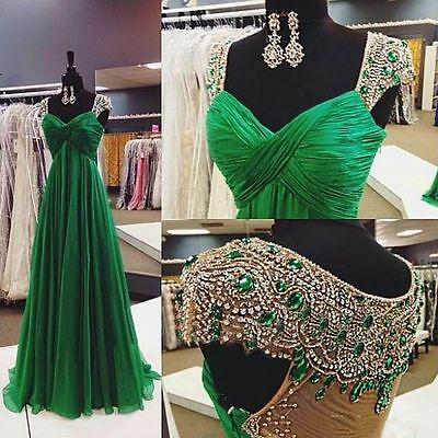 Emerald Green Crystal Cap Sleeves Chiffon Long Evening Dress Formal Prom Dresses