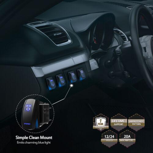 12V Laser Rocker Switch Blue Stereo LED Work Fog Driving Light Bar On//off 5 Pins