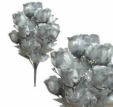"14 Metallic Silver Rosebud 19"" Bouquet Wedding Home Decor Artificial Flower Leaf"