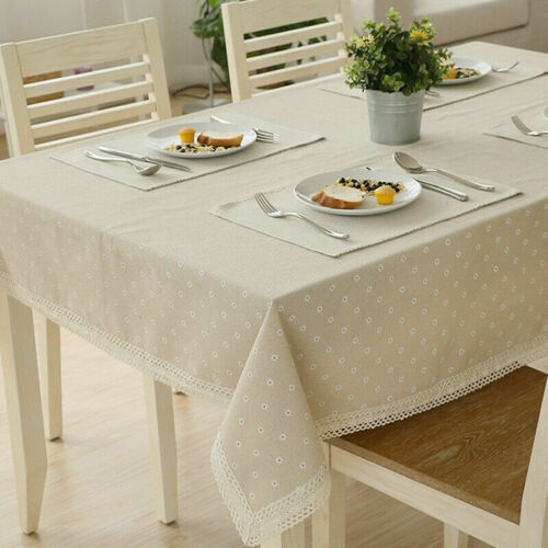 Cotton Linen Tablecloth Literary Dining Table Cloth Decorative Table Cover Decor