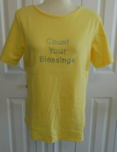 Set-of-2-Heavenly-Rhinestone-T-shirts-Quacker-Factory-Brand-100-Cotton-Medium