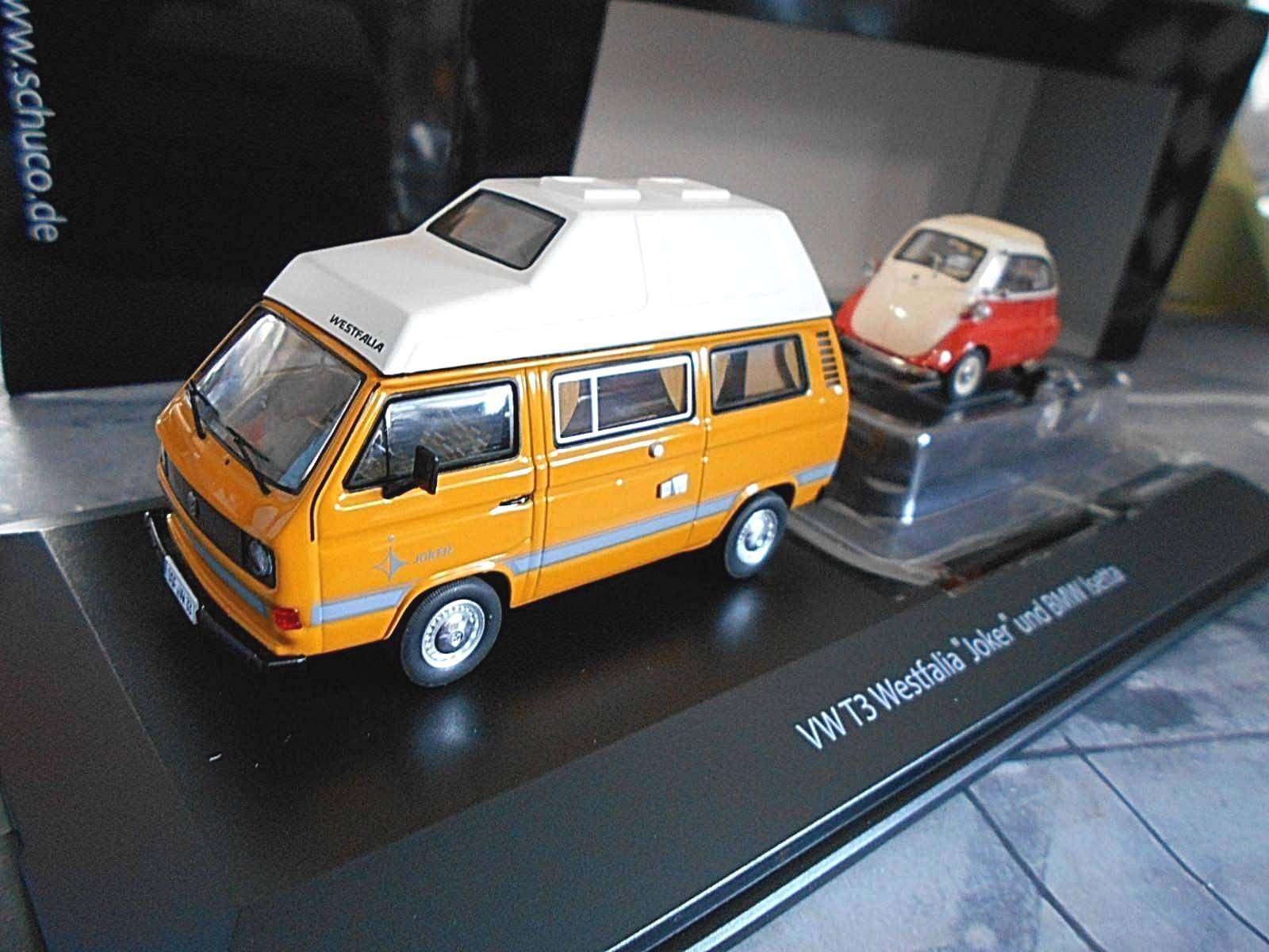 Volkswagen hat vw bus t3 camper westfalia + bmw isetta autoanh ä nger schuco 1 43