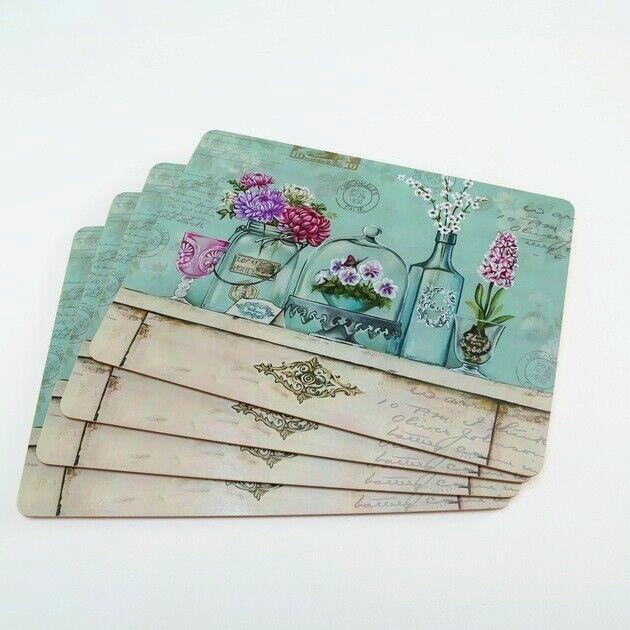 1018613 mit Korkunterseite 4tlg. Tischset Flower 4tlg
