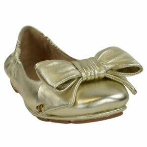 c43dd745cb9 TORY BURCH DIVINE BOW DRIVER BALLET FLAT SPARK GOLD LEATHER WOMEN S ...