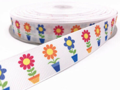 5Y Printed Grosgrain Ribbon Hair Bow 25MM DIY Sewing Craft Multi-color optional