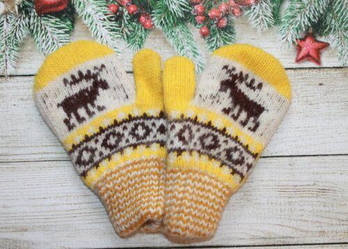 NEW Kids boy girl winter mittens homemade knitted 100/% pure sheep wool