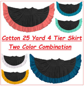 Mix Color Cotton 25 Yard 4 Tier GYPSY Skirt Belly Dance Ruffle Flamenco S~5XL