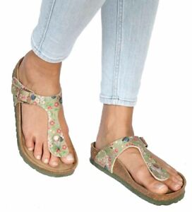 af9d6854f Image is loading Birkenstock-Sandals-GIZEH-Meadow-Flowers-khaki-green-Soft-