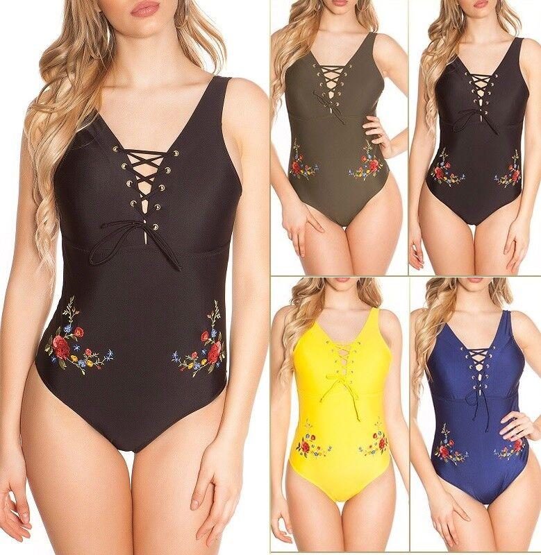 Monokini Beachwear Badeanzug Bikini mit Schnürung und Stickerei
