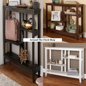 Slim-Brushed-Metallic-Console-Tables-w-Display-Shelves-in-White-Black-or-Brown