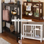 Slim-Brushed-Metallic-Console-Tables-w-Display-Shelves-in-White-Black-or-Brown thumbnail 1