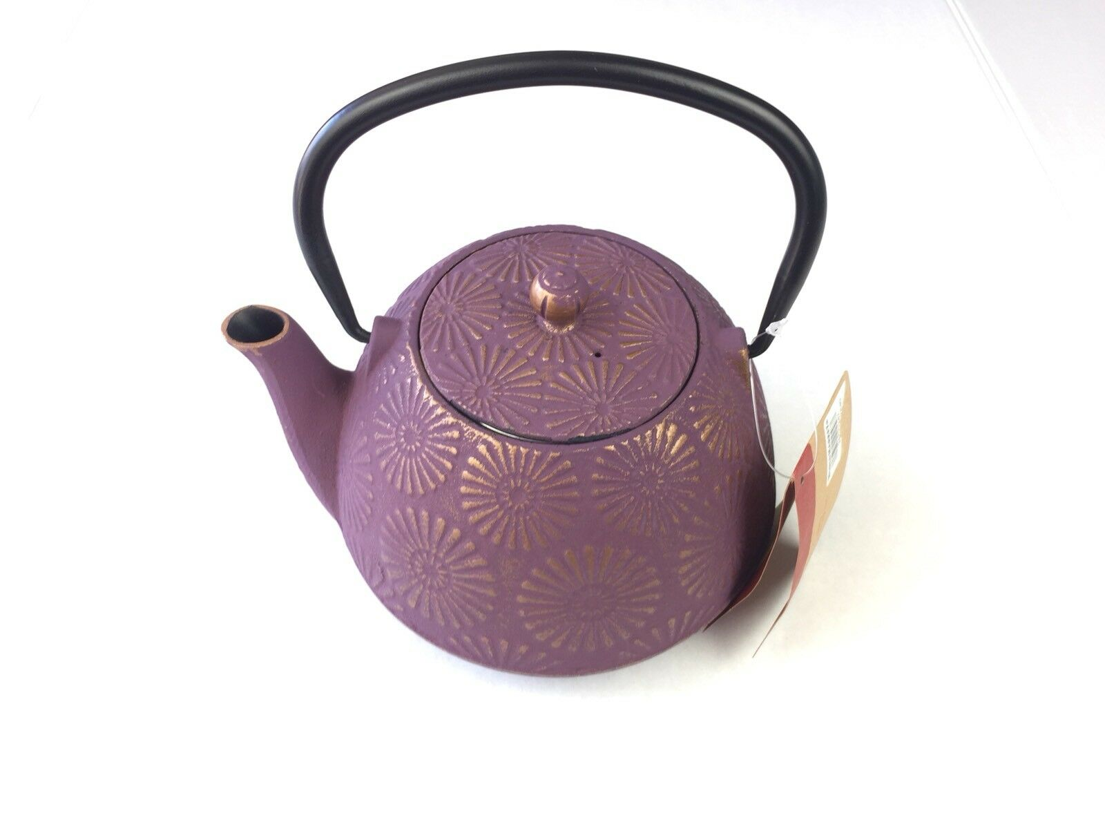 New World Market Plum Flower Cast Iron Teapot Vintage