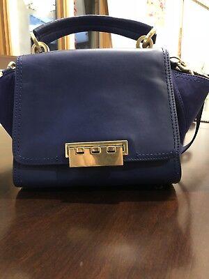 Zac Posen Eartha Iconic Black Blue Crossbody Leather Bag
