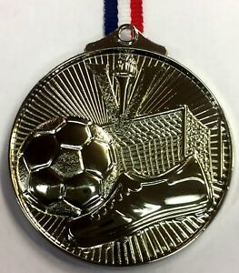 Football Silver Embossed Medal With FREE Engraving, FREE Ribbon & FREE Post