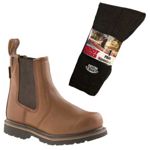 Sizes 6-12 Buckler B1100 Non-Safety Dealer Boots Brown /& 1 Pair of Socks