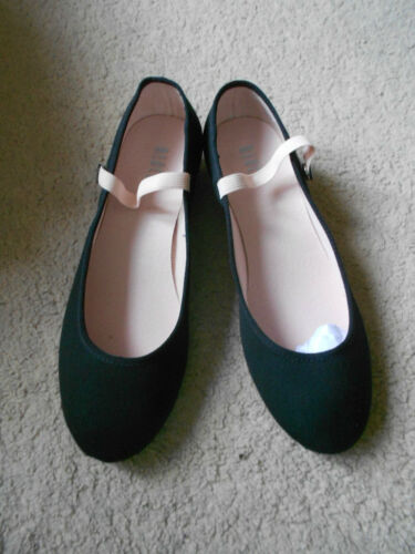 Black canvas low heel regulation syllabus character dance shoes assorted sizes