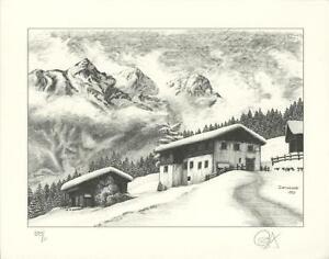 AUSTRIA ALPS SNOW LOG CABIN WINTER HOUSES 11/100 P/S L/E PENCIL SIGNED ART PRINT