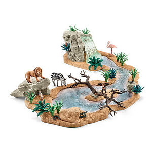 Schleich-Neuheiten-2015-WILD-LIFE-Zubehoer-Wasserfall-Hoehle-Wasserstelle-Tiere