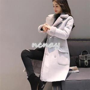 Chic col Manteau épaissir Outwear mi Womens veste coréenne hiver châle longue rBtwB