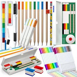 Schulbedarf-Schreibwaren-Blei-Bunt-Filz-Stifte-Lineal-Federmaeppchen-Sets-LEGO