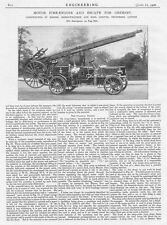 1906 2x Antique Engineering Prints - Motor Fire Engine and Escape for Grimsby