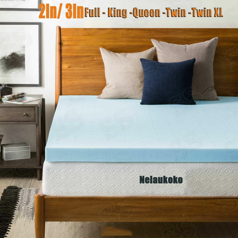 Subrtex Mattress Topper 4-Inch Memory Foam Gel Full Queen King Twin Matresses