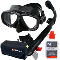 Near Sighted Prescription Optical Rx Scuba Dive Mask Dry Snorkel Bag Defog Set