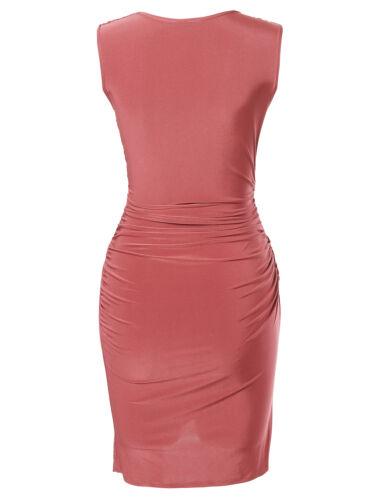 FashionOutfit Women Club Party Sleeveless Shirred BodyCon Mini Dress Made in USA