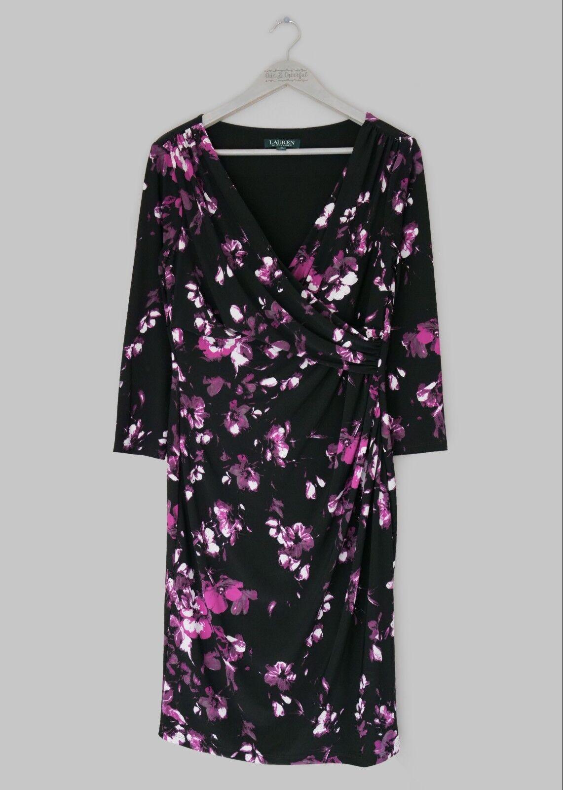 aa10976a0bcfb0 LAUREN LAUREN LAUREN RALPH LAUREN damen schwarz   lila FLORAL PRINT DRESS  -US 10 UK 14- 700a36