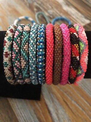 Japanese 10 SET Nepal Rolls Glass Beaded bracelet Unique Handmade