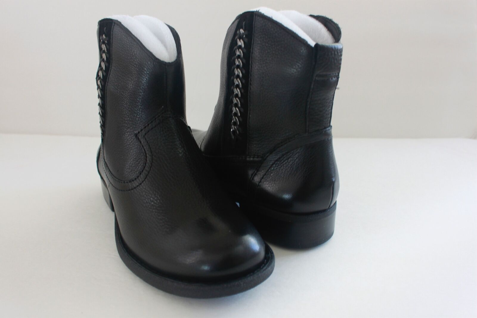 Womens Nurture Willa Black Leather Leather Leather Chain Trimmed Western Booties Boot Size 5.5 M e5f292