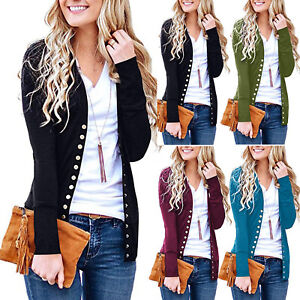 AU-Women-039-s-V-Neck-Button-Down-Knitwear-Long-Sleeve-Soft-Basic-Knit-Snap-Cardigan