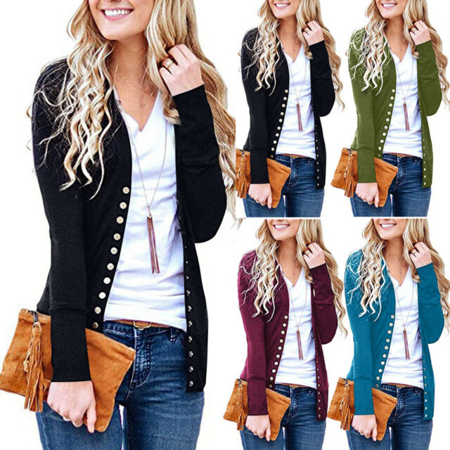 Womens Snap Buttons Front V-Neck Long Sleeve Knit Cardigan Sweater Knitwear Tops