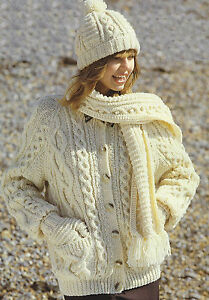 50fb749be46c9d Image is loading Ladies-Aran-Knitting-Pattern-Cardigan-Hat-Mittens-and-