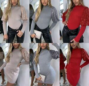 Damen-Damen-Feinripp-Rueschen-Ausschnitt-Pailletten-Puff-Armel-Top-Pullover-Mini-Kleid