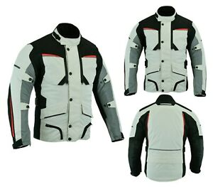 Mens-Motorbike-Motorcycle-Long-Jacket-Textile-Waterproof-Off-White-Grey-Armoured