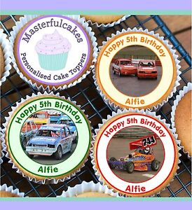 24 PERSONALISED BANGER CAR DESIGN EDIBLE RICE PAPER CUP CAKE TOPPERS